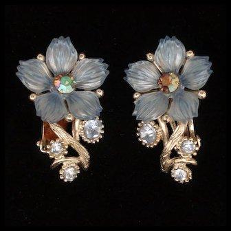 Blue Flower Earrings Vintage Selro Clips