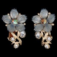 Blue Flower Earrings Vintage Selro Clips