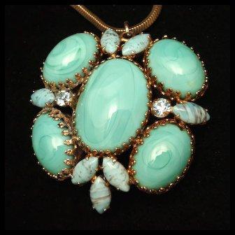 Regency Pendant Necklace Aqua Blue Glass Stones Vintage