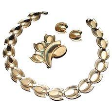 "Renoir Set ""Tulip"" Necklace Brooch Pin Earrings Vintage Copper"