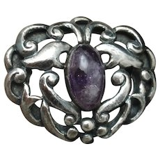 Mexican Silver and Amethyst Scroll Brooch Pin Vintage