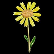1960s Flower Power Brooch Pin Flower Yellow Daisy by At