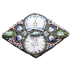 Italian Mosaic Pin Vintage Diamond Shaped