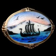 Norway Picture Pin Vintage Enamel Sterling Silver Arne Nordlie Viking Ship