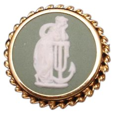 Wedgwood Pin Vintage Green Jasperware Classical Motif England