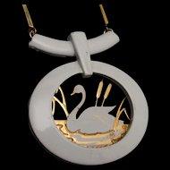 White Swan Pendant Necklace Vintage