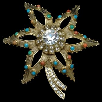 Flower Brooch Pin Rhinestones Vintage Open Petals