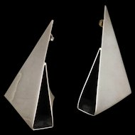 Retro Modernist Folded Metal Origami Earrings