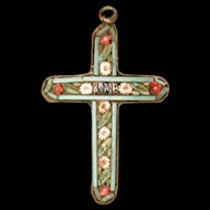 Mosaic Cross Pendant Vintage Italy
