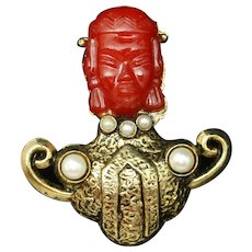 Red Face Figural People Brooch Pin Vintage