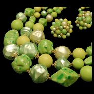 Large Green Bead Necklace Earrings Set Vintage Japan