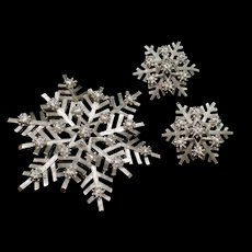 Trifari Snowflake Pin and Earrings Set Vintage