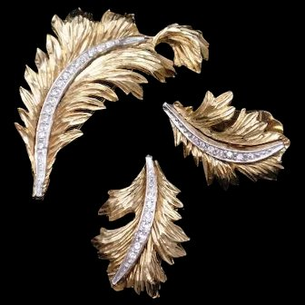 Feathery Leaf Pin and Earrings Set Vintage Benedikt NY