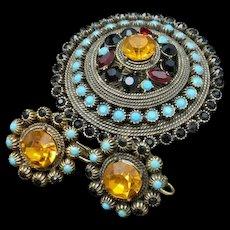 Hobe Set Vintage Rhinestones Pin Earrings