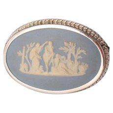 Oval Wedgwood Blue Jasperware Brooch Pin Classic Motif