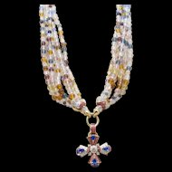 Nolan Miller 8-Strand Necklace with Square Cross Pendant