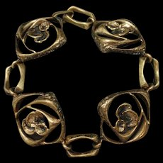 Modernist Brass Bracelet Stylized Floral Design Vintage
