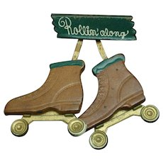 Roller Skates Pin Vintage Wooden Novelty