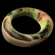 Off Center and Very Cool Mottled Plastic Bangle Bracelet