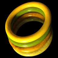 Stack of 4 Bakelite Bangle Braelets