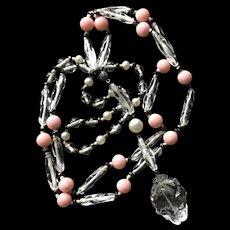 Crystal Beads and Rose Quartz Necklace Vintage