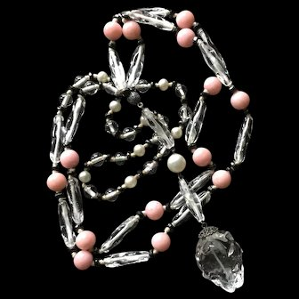 Crystal Beads and Rose Quartz Necklace Vintage