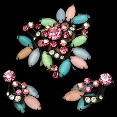 Japanned Pin Earrings Set Candy Colored Rhinestones Vintage