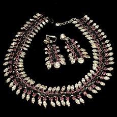 Vendome Necklace Earrings Set Purple Black Clear Rhinestones Vintage