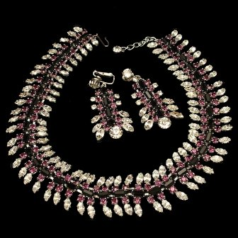 Vendome Necklace Earrings Set Purple Black Clear Rhinestones Vintage
