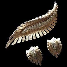 Marboux Pin Earrings Set Rhinestones Vintage