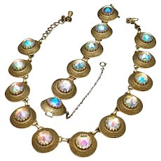 Vendome Necklace Bracelet Set Vintage Aurora Borealis Large Stones