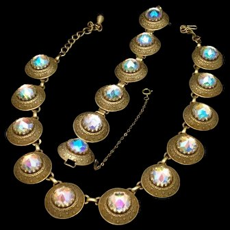 Vendome Necklace Bracelet Set Vintage Aurora Borealis Large Stones
