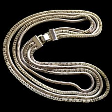 4 Strand Mesh Chain Necklace Vintage