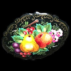 Hand-Painted Fruit Still Life Pin Vintage