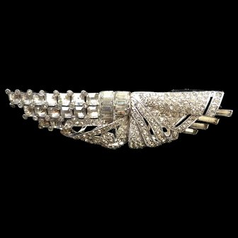Rhinestone Dress Clip Pin Asymmetrical Design Vintage