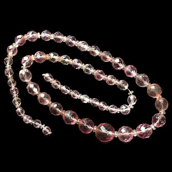 Faceted Pink Glass Crystals Necklace Graduating Sizes