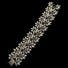 Coro Wide Bracelet Leaf Motif Vintage