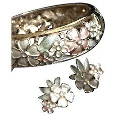 Kramer Hinged Bangle Bracelet Earrings Set Vintage