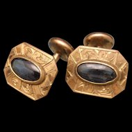 Fixed Back Vintage Cuff Links with Deep Blue Stones