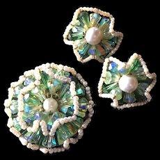 Vendome Set Brooch Pin Earrings Vintage Ruffle Design