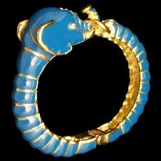 Blue Elephant Clamper Bracelet Enamel