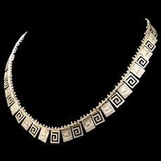 Sterling Silver Necklace Greek Key and Ship Design Vintage