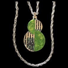 Trifari Necklace Green Mod Double Chain Vintage
