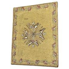Antique French Gold Metallic Silk Embroidered Bourse Gothic Needlework