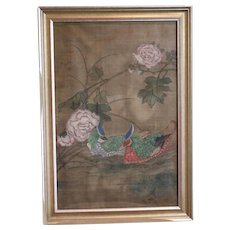 Antique Chinese Silk Scroll Painting Mandarin Ducks