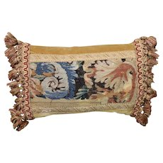 Antique Pillow 17th Century Flemish Tapestry Flowers