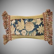 Antique Flemish Verdure Tapestry Cushion Antique Pillow Flowers