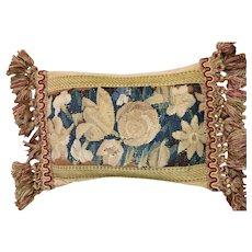 Antique Flemish Verdure Tapestry Cushion Antique Pillow Flowers