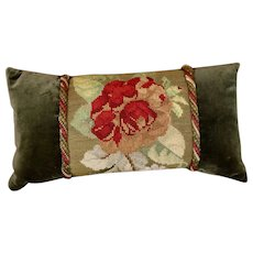 Antique English Tapestry Pillow Victorian Needlework Rose