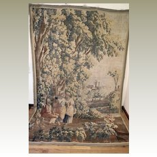 17th Century French Aubusson Verdure Tapestry Figural Wall Hanging